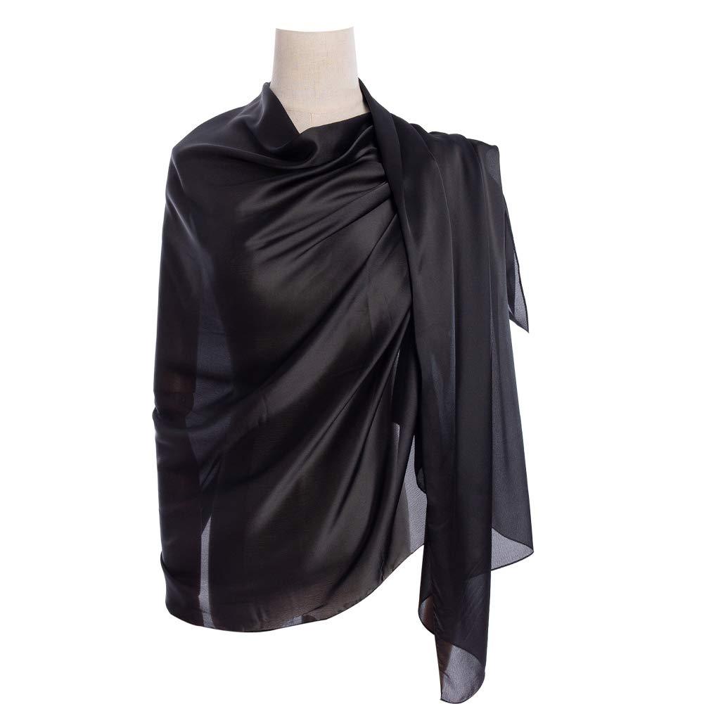 Cyzlland Women's Scarves 100% Silk Long Lightweight Scarfs for women (black)