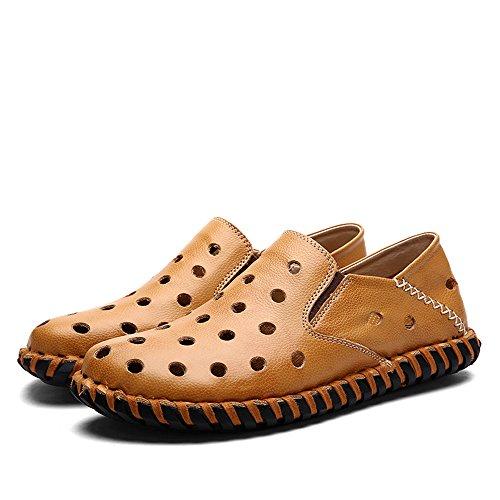 Yuanli Mens Handgjorda Sömnad Äkta Läder Tillfällig Gång Slip-on Loafers Täppa Gul