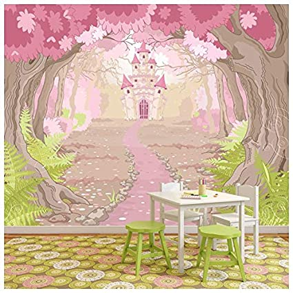 Amazon.com: azutura Pink Princess Castle Wall Mural Fairytale Photo ...