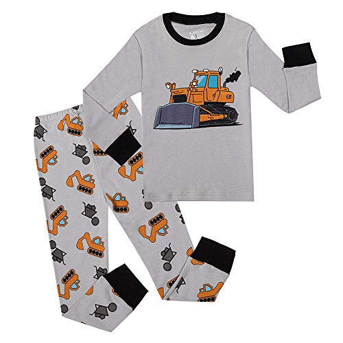 PHOEBE CAT Little Boys Earthmover Pajamas 2 Piece 100% Cotton Sleepwear Kids Pjs Set (Grey,2T)