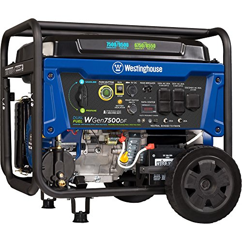 Westinghouse WGen7500DF Dual Fuel Portable Generator - 7500 Rated Watts & 9500 Peak Watts - Gas or Propane Powered - CARB (Propane Gas Generator)