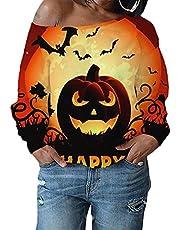 Kleurrijke hoodie zonder capuchon dames 3D-print pullover lange mouwen sweatshirts met kattenmotief bloemen shirt vrouwen plus size Halloween T-shirt blouse sweatshirt