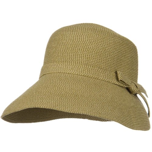 Tweed Cloche - UPF 50+ Woman Cloche Slanted Self Tie Bow Hat - Tan Tweed