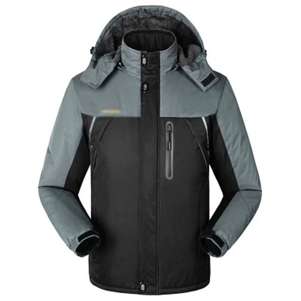 SHR-GCHAO Outdoor Sport Jacke Plus Samt Wasserdicht Wear-Resistant atmungsaktiv Winter-Radfahren Ski Sport Wandern,Schwarz,4XL