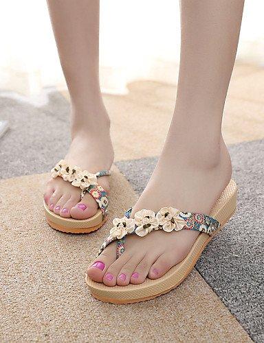ShangYi Sandaletten für Damen Damenschuhe-Pantoffeln & Holzschuhe-Lässig-Kunstleder-Keilabsatz-Pantoffeln-Blau / Rot Red