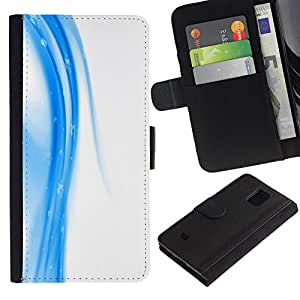 Billetera de Cuero Caso Titular de la tarjeta Carcasa Funda para Samsung Galaxy S5 Mini, SM-G800, NOT S5 REGULAR! / White Fluid Abstract Clean Design / STRONG