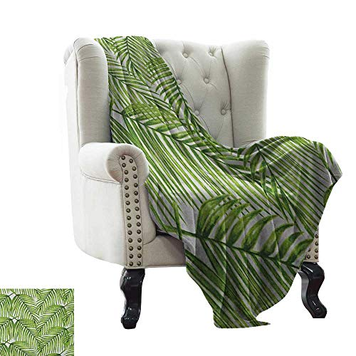 (Baby Blanket Yarn Plant,Fascinating Leaves on Branches Exotic Setting Floral Arrangement Jungle Themed Greens, Fern Green Lightweight Microfiber,All Season for Couch or Bed 60