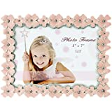 lt pink enamel picturephoto frame metal with silver plated and crystals floral style 5 x 7 inch