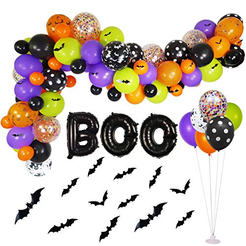 Halloween Decorations Balloons (Halloween Balloons Garland Kit - 92 Pack Latex Balloons Boo Foil Confetti Balloon 3D PVC Bat Decoration Set for Halloween Party Decorations Supplies, Halloween Party)