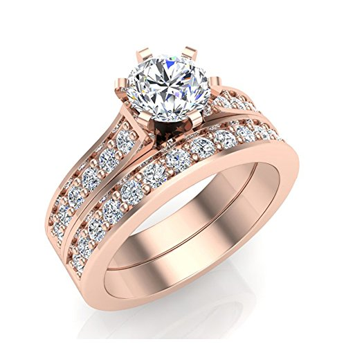 1.10 ct tw Cathedral Diamond Accented Bridal Wedding Ring Set 14K Rose Gold (Ring Size 8) (Cathedral Bridal Rose)
