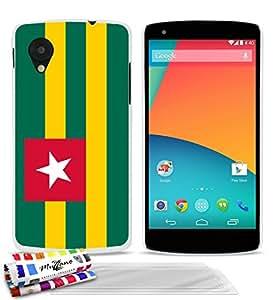 Carcasa flexible Ultrafina Blanca Original de MUZZANO estampada Bandera Togo para GOOGLE NEXUS 5 + 3 películas de protección UltraClear para la pantalla