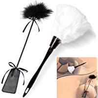 Pack of 2 Teasing Feather Tickler Whip and Hair Brush Crop Spanking Slapper Love Flirting Toy Set for Women Couples Lovers