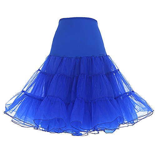 DRESSTELLS Women's Vintage Rockabilly Petticoat Skirt Tutu 1950s Underskirt Royal Blue L