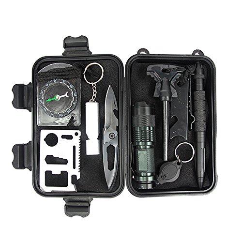 10 in 1 Selbsthilfe Außen Survival Notfall Self Help Sport Camping Wandern Werkzeuge Box Kit Set