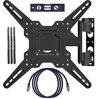 "EpeiusMount TV Wall Mount for most 22""-55"" LED LCD Plasma Flat Screen Monitor up to 90 lb VESA 400x400 with Full Motion Swivel Articulating 20 in Extension Arm, HDMI Cable ,Cable Ties & Bubble Level"