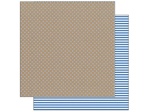Kraft In Color Double-Sided Cardstock 12'X12'-Blue Jean Dot/Stripe