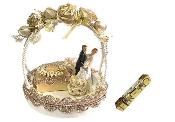 Loops N Knots White Golden Wedding Ring Tray Engagement Ring Platter With 1 Ring Holder Amazon In Grocery Gourmet Foods