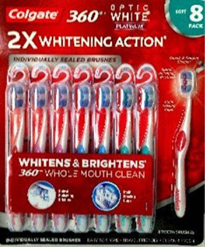 Colgate Toothbrush Optic White 360 Platinum Medium 8 Pack Ch