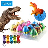 (US) 12 Pcs Dinosaur Eggs with Bonus10 Pcs Dinosaur Stamps, Kictero Crack Easter Dinosaur Eggs that Hatch in Water, Grow Eggs with Dinosaur figures Inside Toy for Boys / Girls, Birthday Party Favors