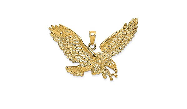 Million Charms 14K Two-tone Gold with White CZ Accented Eagle Charm Pendant 20mm x 20mm
