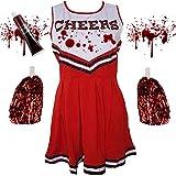 Blue Planet Fancy Dress  Childrens Kids Zombie Cheerleader Fancy Dress Costume & Fake Blood (Large 10-12 years)