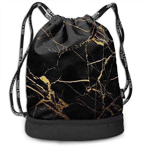 Men & Women Premium Polyester Drawstring Backpack Chic Black Gold Marble Texture Gymsack Theft Proof Lightweight For Travel Soccer Baseball Bag Large For Camping, Yoga Runner ()
