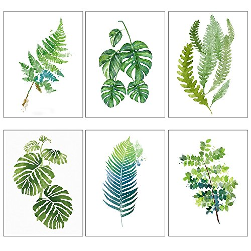 Modern Poster Print Popular Wall Art Decor Tropical Leaf Watercolor Painting Palm Monstera Leaf (Watercolor Leaves)
