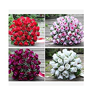 WodCht Beautiful Wedding Bouquets for Bride Bridesmaid White Red Pink Purple Artificial Rose Bridal Flowers Bouquet 92