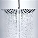 Rainfall Shower Head, 12 Inch Square Stainless Steel Rain Showerhead with High Pressure Polish Chrome Finish, Ultra Thin Waterfall Full Body Coverage with Silicone Nozzle Easy to Clean and Install