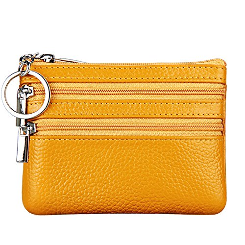 Women's Genuine Leather Coin Purse Mini Pouch Change Wallet with Key Ring,Yellow (Holder Card Change Purse)