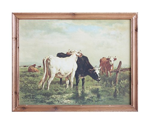 Creative Co-op DA7862 Casual Country Framed Vintage Reproduction of Cows Art