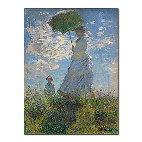 (Wieco Art Woman with a Parasol Madame Monet and Her Son Canvas Prints Wall Art of Claude Monet Famous Classic Oil Paintings Reproduction People Landscape Pictures Artwork for Home Office Decorations)