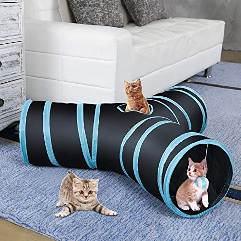 CO-Z Collapsible Cat Tunnel Tube Kitty Bored Pet Toys Peek