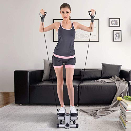 Goplus Mini Stepper Air Climber Step Fitness Exercise Machine with Resistance Band and LCD Display by Goplus (Image #1)