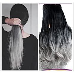 20 Inches Thick One Piece Half Head Wavy Curly Ombre Clip in Hair Extensions (Col. Natural black to Grey) DL
