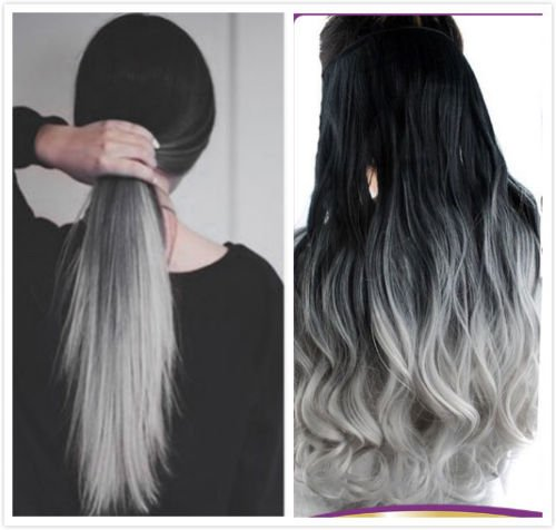 20 Inches Thick One Piece Half Head Wavy Curly Ombre Clip in Hair Extensions (Col. Natural black to Grey) DL (Grey Hair Extensions)