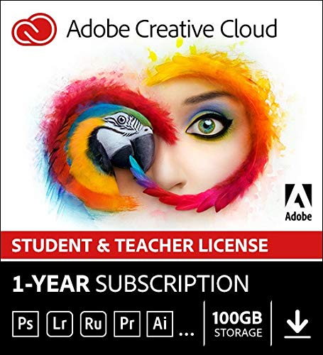 Adobe Student & Teacher Edition Creative Cloud | Student/Teacher Validation Required |12-month Subscription with auto-renewal, billed monthly, PC/Mac by Adobe