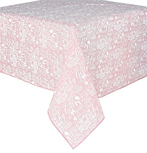 Craig Bachman 54-inch Square Polyester Tablecloth Girl Baby Shower, Restaurant Banquet Pink White