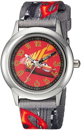 Disney Boy's 'Cars 3' Quartz Stainless Steel and Nylon Casual Watch, Color:Grey (Model: WDS000296)
