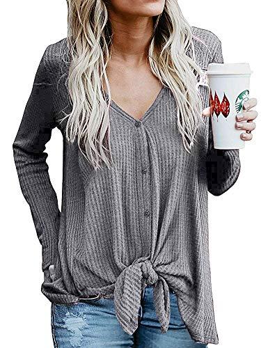 Narvokey Womens Waffle Knit Tunic Blouse Tie Knot Henley Tops V Neck Button Down Henley Shirt Cardigan Loose Fitting Blouse (XXL, Grey)