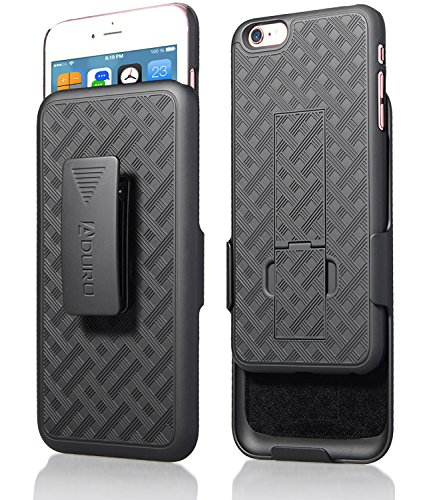 iPhone 6S Plus / 6 Plus Case, Aduro Combo Shell & Holster Case Super Slim Shell Case w/Built-in Kickstand + Swivel Belt Clip Holster for Apple iPhone 6S Plus / 6 Plus (Best Iphone 6s Plus Case With Belt Clip)