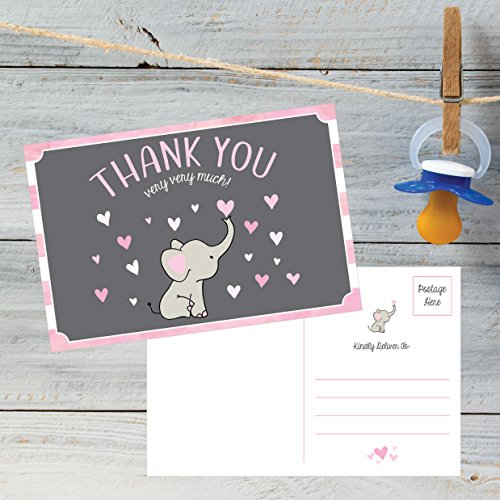50 4x6 Elephant Girl Baby Shower Thank You Postcards Bulk, Beautiful Pink Modern Cute Boho Blank Thanks Note Card Stationery Appreciation Set Photo #5