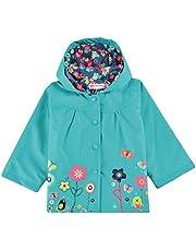 Trudge Mädchen Regenjacke Trenchcoat Outdoorjacke für Kinder Winddicht Regenfest Mit Kapuze Doppelschicht Blumenmuster 90-140CM (130(Alter:5-6), Blau)