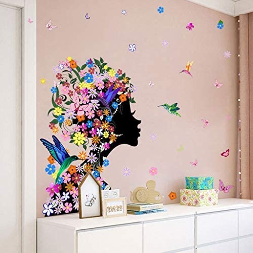 KUNAW DIY Removable Wall Sticker Butterfly Girl Cartoon Flower Sticker Bedroom Study Background Wall Sticker Living Room Home Decor Window Decals,18 x 23.62 Inch