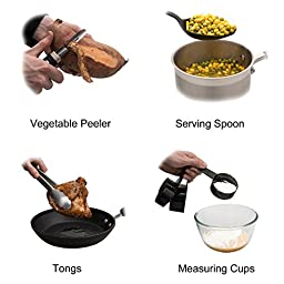 22-piece Kitchen Utensils Sets - Home Cooking Tools- Stainless Steel & Nylon Gadgets- Turners, Tongs, Spatulas, Pizza Cutter, Whisk, Bottle Opener, Grater, Peeler, Can Opener, Measuring Cups & Spoons