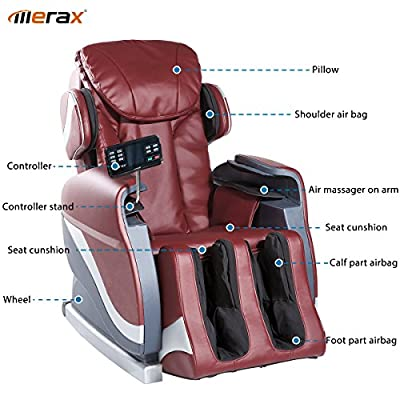 Merax Full Body Massage Recliner Chair 8-Massaging Programs Electric Leather Lounge Chair Massage Chair, Red