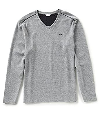 Calvin Klein Mens Long Sleeve Fabric Blocked V-Neck