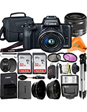 $654 » Canon EOS M50 Mirrorless Digital Camera 24.1MP with EF-M 15-45mm f/3.5-6.3 is STM Lens + ZeeTech Accessory Bundle, 2 Pack SanDisk 32GB Memory Card, Bag, Tripod and Flash Light