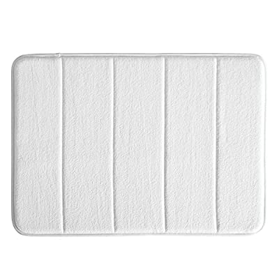 iDesign Soft Memory Foam Non-Slip Bath Mat for Bathroom, Tub or Vanity - Small, White - HIGH-QUALITY FABRIC: Made of 100% polyester with a memory foam backing, this non-slip white shower rug adds classic and chic style to your master bathroom, kitchen, kid's bathroom, guest bathroom, office, craft room, and other places in your home STURDY: Stays in place throughout the day with a non-slip foam backing EASY MAINTENANCE: Machine washable and hangs dry for easy cleaning - bathroom-linens, bathroom, bath-mats - 51NVfpvA1PL. SS400  -