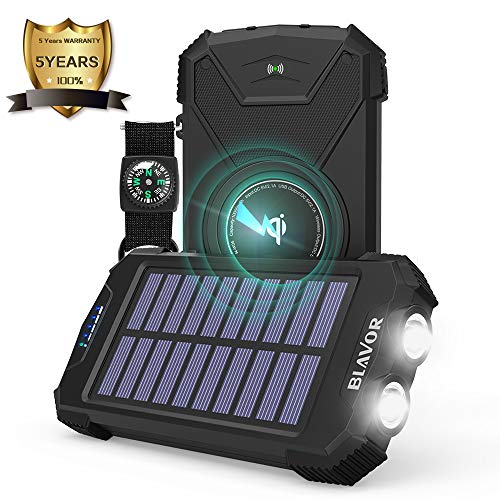Wireless Solar Charger, Portable Ultra-Compact 10000mAh USB External Battery Pack Backup Battery Qi Power Bank w USB Output/Type-C Input,Solar Panel Emergency Charging, Dual Flashlights